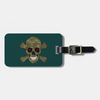 Camo Red Eyes Skull And Crossbones Luggage Tag