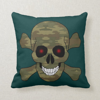 Camo Red Eyes Skull And Crossbones Throw Pillow