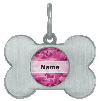 Camo rosado brillante lindo, camuflaje placas mascota