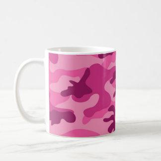 Camo rosado brillante lindo, camuflaje taza