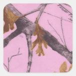 Camo rosado calcomanía cuadradas personalizadas