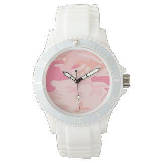 Camo rosado de hombres relojes