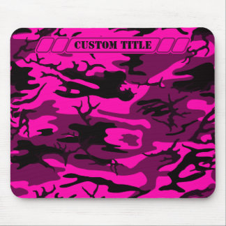 Camo rosado extranjero Mousepad con título de