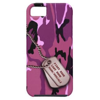 Camo rosado militar con la placa de identificación iPhone 5 funda