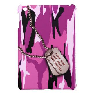 Camo rosado militar con la placa de identificación iPad mini cárcasas