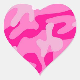 Camo rosado punky pegatina en forma de corazón