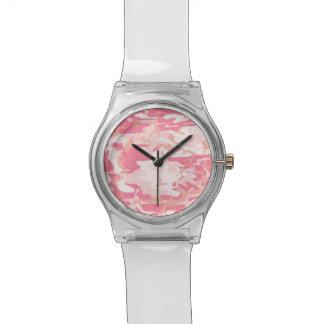 Camo rosado relojes
