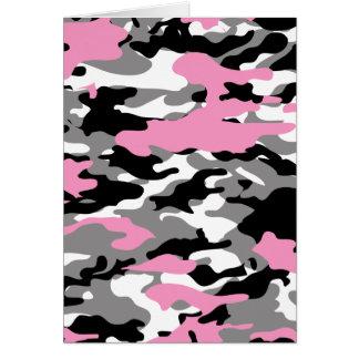 Camo rosado tarjeta de felicitación