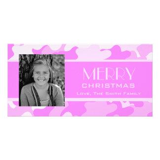 Camo rosado tarjetas personales con fotos