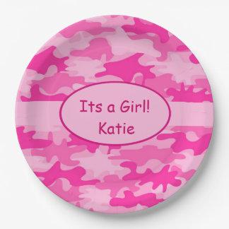 Camo rosado y nombra su una fiesta de bienvenida plato de papel de 9 pulgadas