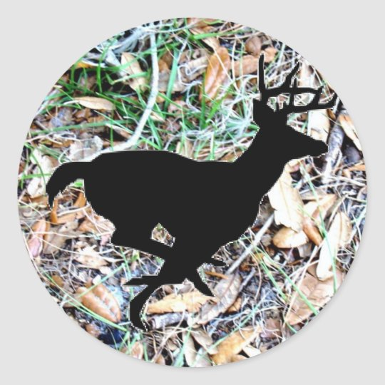 camo running buck classic round sticker