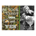 Camo Rustic Leaves Save The Date Wedding Postcard