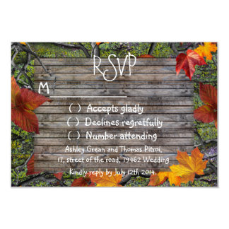Camo Rustic Wood Fall Leaves RSVP Wedding Card