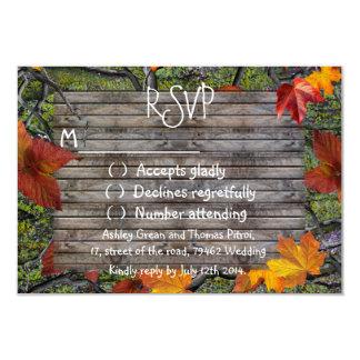 Camo Rustic Wood Fall Leaves RSVP Wedding 3.5x5 Paper Invitation Card