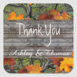 Camo Rustic Wood Fall Leaves Thank You Square Sticker
