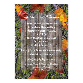 Camo Rustic Wood Fall Leaves Wedding 5x7 Paper Invitation Card