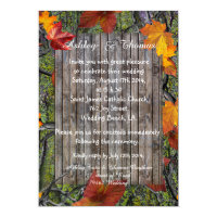 Camo Rustic Wood Fall Leaves Wedding Invitation