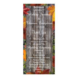 Camo Rustic Wood Fall Leaves Wedding Programs Rack Card Template