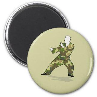 Camo Soldier In Black Green Khaki Magnet