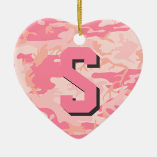 Camo Soldier Pink Camouflage Initial Monogram Ornament
