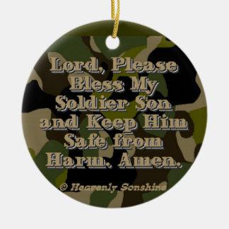 Camo Soldier Son Prayer Ceramic Ornament