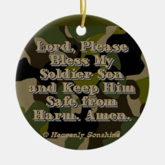 Camo Soldier Son Prayer Double-Sided Ceramic Round Christmas Ornament