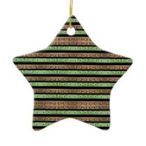 Camo Stripes Print Ceramic Ornament