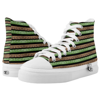 Camo Stripes Print High-Top Sneakers