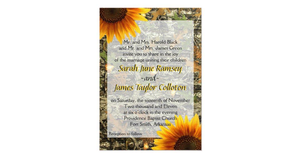 Camouflage Wedding Invitation Kits: Camo & Sunflower Wedding Invitation