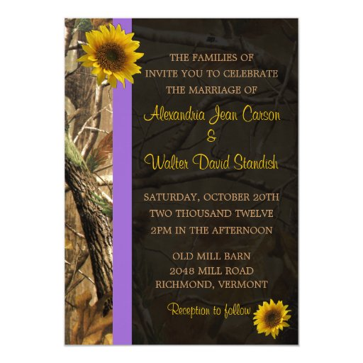 "Camo Sunflower Wedding Invitations 5"" X 7"" Invitation Card"