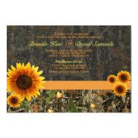 Camo Sunflowers Wedding Invitation 3.5&quot; X 5&quot; Invitation Card (<em>$1.86</em>)