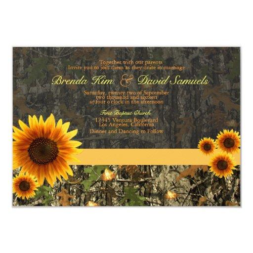 "Camo Sunflowers Wedding Invitation 3.5"" X 5"" Invitation Card"
