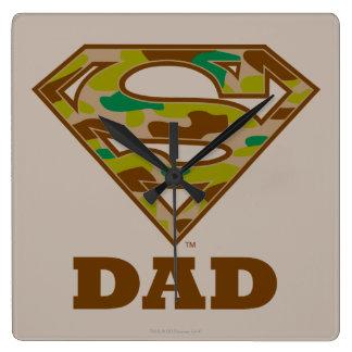 Camo Super Dad Square Wall Clock