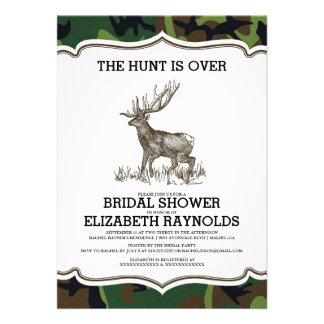 Camo The Hunt is Over Bridal Shower Invitations Card