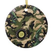 Camo & Tractors Ceramic Ornament