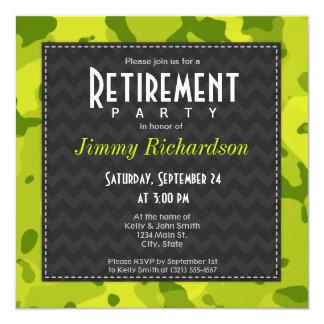 Camo verde ácido; El fiesta de retiro invita Invitacion Personal