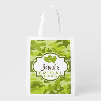 Camo verde, camufla la ducha nupcial bolsas reutilizables