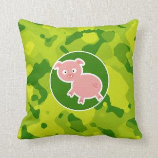 Camo verde; Cerdo Cojín
