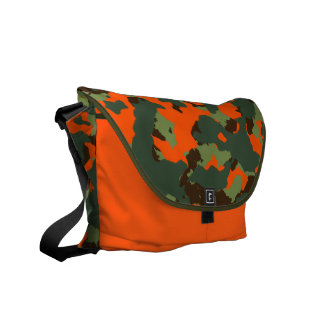 Camo verde con el naranja del resplandor de la bolsa de mensajeria