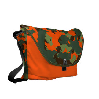 Camo verde con el naranja del resplandor de la bolsa messenger