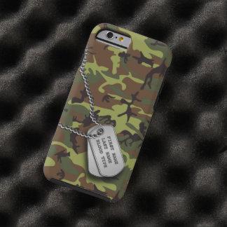 Camo verde con la placa de identificación funda de iPhone 6 tough