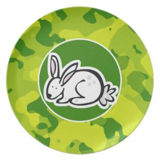 Camo verde; Conejo de conejito Plato Para Fiesta