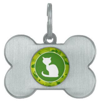 Camo verde; Gato blanco Placas Mascota