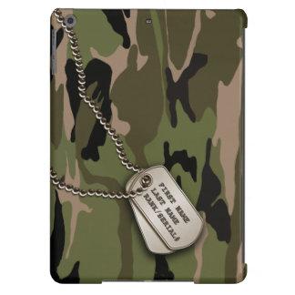 Camo verde militar con la placa de identificación funda para iPad air