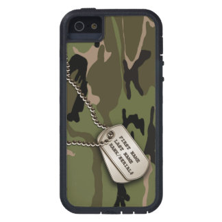 Camo verde militar con la placa de identificación funda para iPhone SE/5/5s