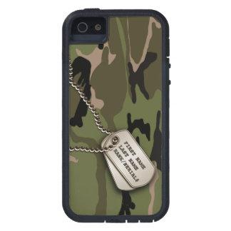 Camo verde militar con la placa de identificación iPhone 5 funda