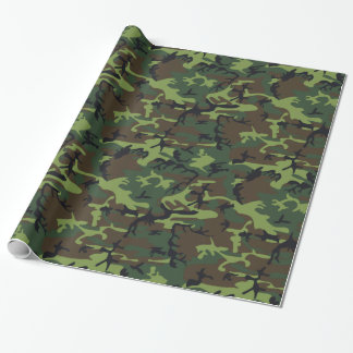 Camo verde militar papel de regalo