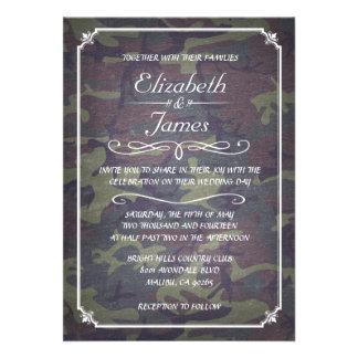 Camo Vintage Chalkboard Wedding Invitations Personalized Invite
