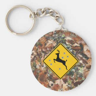 camo with deer crossing basic r15 keychain