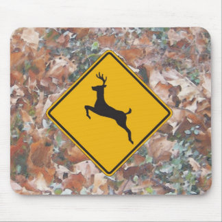 camo with deer crossing mouse pad